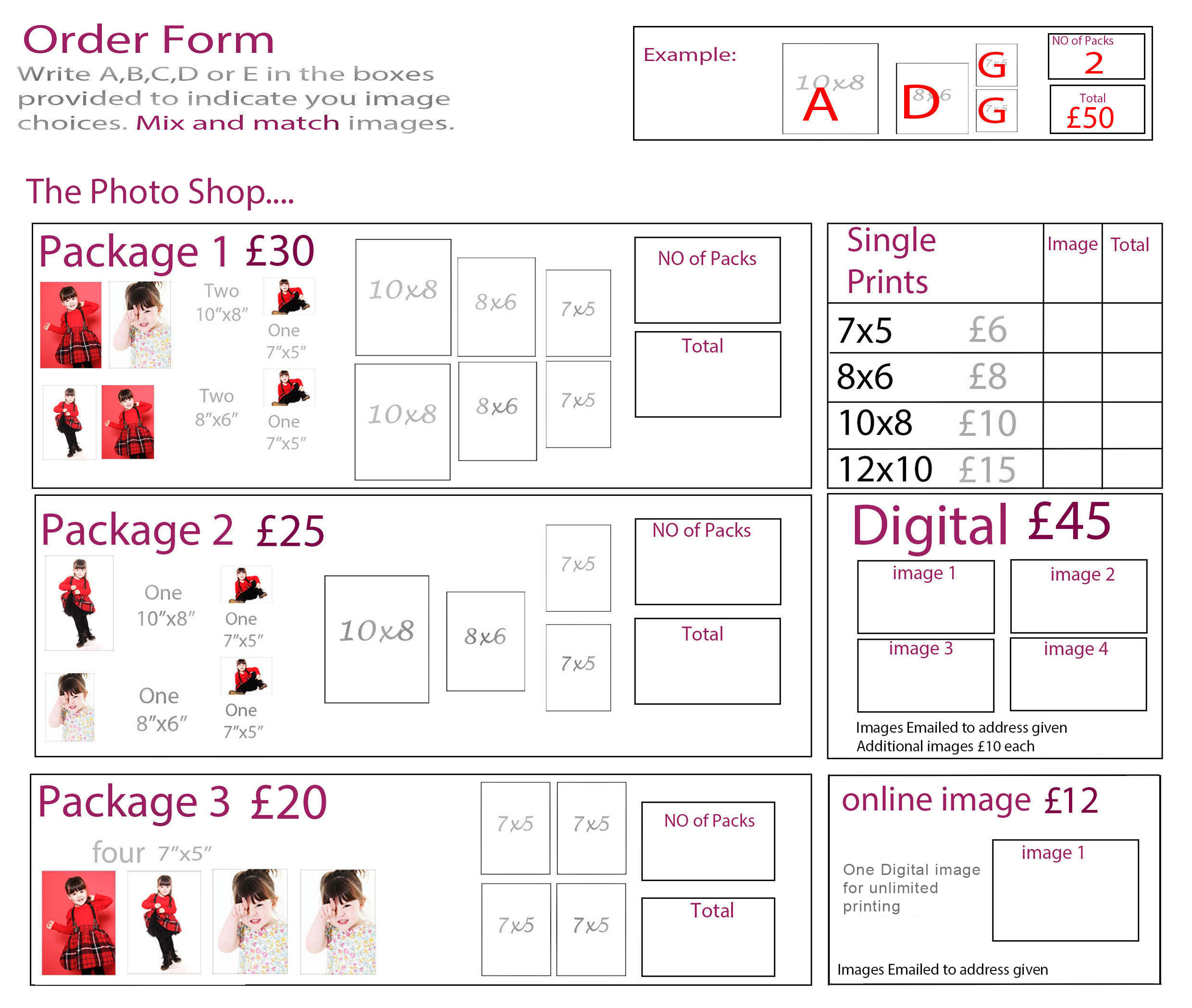 order form & packages for schools and nurseries